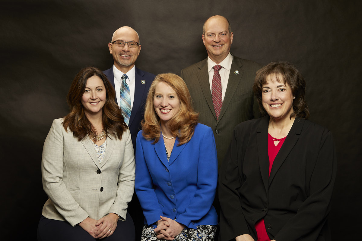 2021 Portrait of the El Paso County Commissioners, front row Left to Right: Commissioner Geitner, Commissioner Bremer, Commissioner Williams. Back Row, Left to Right: Commissioner Gonzalez Jr., Commissioner VanderWerf